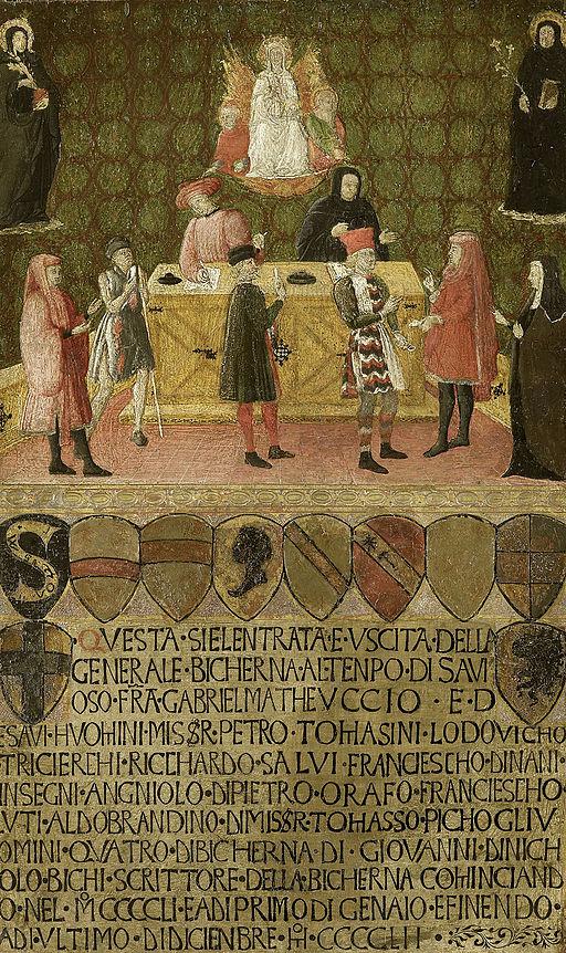 Anoniem - Het kantoor van de belastingsdienst (biccherna) van Siena