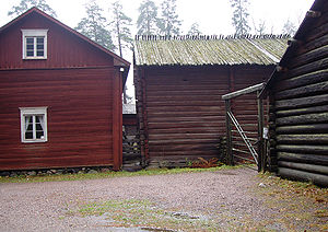 Birch-bark roof - The Antti farmstead in the Seurasaari Open-Air Museum, Helsinki: timber poles form the top layer of the birch-bark roof