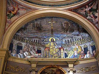Santa Pudenziana - Christ enthroned among the Apostles, apse mosaic (enhanced image), a Paleochristian mosaic, c. 420 AD.