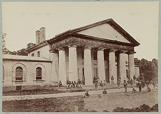 Arlington National Cemetery - Custis-Lee Mansion with Union soldiers on lawn (June 28, 1864)