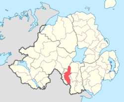 Location of Armagh, County Armagh, Northern Ireland.
