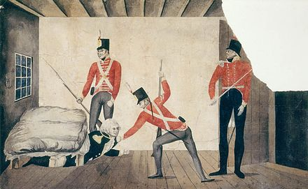 Propaganda cartoon of Bligh's arrest in Sydney in 1808, portraying him as a coward. State Library of New South Wales, Sydney. Arrest of Govenor Bligh.jpg