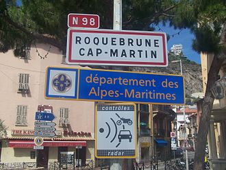 Alpes-Maritimes - Sign welcoming visitors to Alpes-Maritimes.