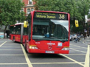 Articulated bus - An Arriva London Mercedes-Benz Citaro G on London Buses route 38, demonstrating bending