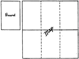Diagram of a guard, to the left, and an unfolded map - each of its six sections the same size and dimensions as the guard