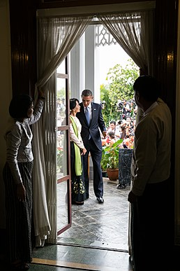 Aung San Suu Kyi at her home with Barack Obama.jpg