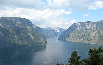 Aurlandsfjord - Image: Aurlandsfjorden from Stegastein