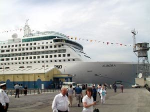 MV Aurora (2000) - MV Aurora moored adjacent to the Gibraltar Cruise Terminal on the Western Arm of the North Mole in Gibraltar Harbour.