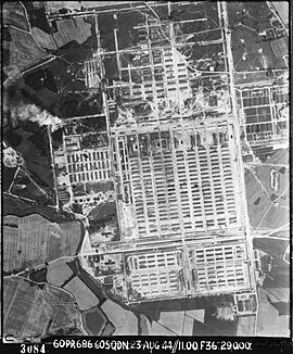Aerial view of Auschwitz II-Birkenau taken by the RAF on 23 August 1944 Auschwitz aerial view RAF.jpg
