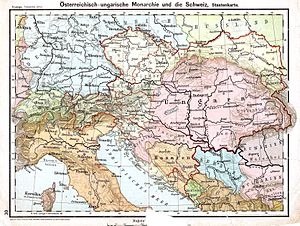 A map showing Austria-Hungary, northern Italy, and the northern Adriatic Sea. The internal divisions of Austria and Hungary are shown as well.