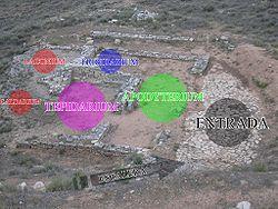 Esquema de termas romanas sobre as Termas de Azaila (Teruel).