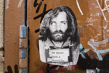 Charles Manson. Street poster art, Barcelona, 2015