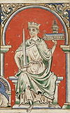 Richard the Lionheart, an illustration from a 12th-century codex