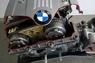 BMW N52 - Front of the N52, with VANOS units visible
