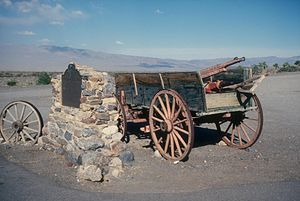 Death Valley '49ers - The monument in Burnt Wagons, California, marking the site where the group killed their oxen and burned their wagons
