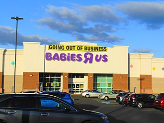 "Toys ""R"" Us - ""Going out of business"" sign on Babies ""R"" Us in Manchester, Connecticut, April 20, 2018"
