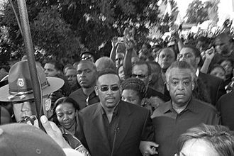 Jena Six - Talk show host Michael Baisden and Al Sharpton, at the front of the September 20, 2007, march in Jena, Louisiana
