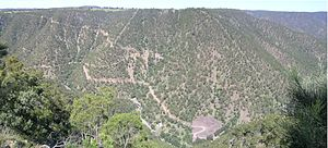 Hillgrove, New South Wales - Bakers Creek Gorge, mines and Hillgrove from Metz