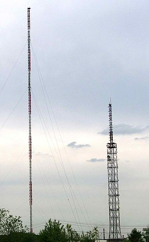 Balashikha - Balashikha radio tower - 300-meters mast left and 176-meters tower on the right