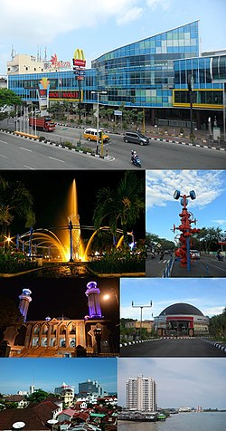 From top, left to right: The Plaza Balikpapan, Bekapai Park, Refinery monument, At-Taqwa Mosque, Balikpapan Dome, and Waterfront Skyline of Balikpapan