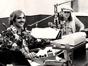 Banana Joe - Joe Montione (Banana Joe) with John Lennon at WFIL radio, Philadelphia, PA in May, 1975.