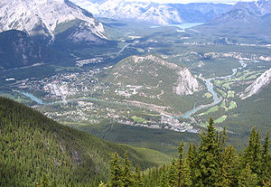 Banff, Alberta - The Banff townsite wraps around Tunnel Mountain