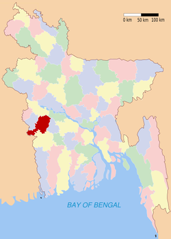 Location of Jhenaidah in Bangladesh