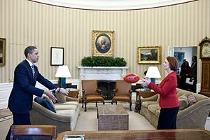 Women's suffrage in Australia - Julia Gillard, the first female Prime Minister of Australia with United States President Barack Obama in the Oval Office in 2011.