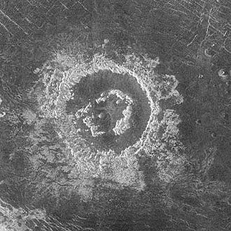 Peak ring (crater) - Barton crater, a peak-ring crater on Venus