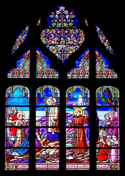 Stained glass-window depicting Saint-Guénolé and King Gradion. Church of Batz-sur-Mer, France.