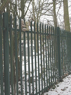 English: Bearing the cold Two forlorn and snow...
