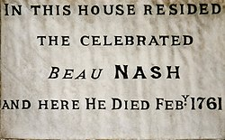 Photo of Richard 'Beau' Nash white plaque