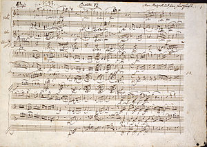 String Quartet No. 19 (Mozart) - Image: Beginning of Quartet in C (K.465) Mozart MS Six Quartetts dedicated to Haydn (Op.10) (1785), f.57 BL Add MS 37763