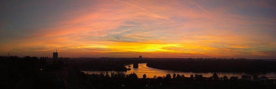 Panoramic image of the Danube and Sava river from Kalemegdan, Belgrade Serbia.