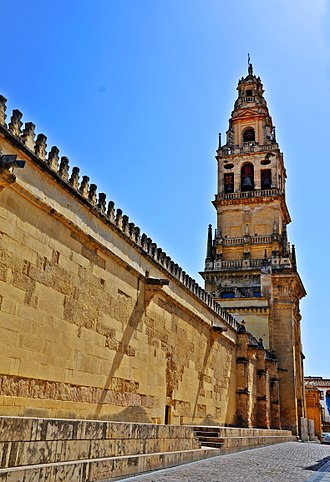 Mosque–Cathedral of Córdoba - Belfry tower and northern boundary wall.