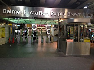 Belmont station (CTA North Side Main Line) - The station entrance from the sidewalk