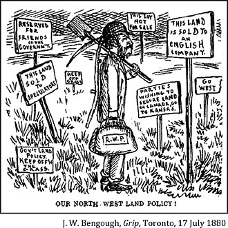 "Land grabbing - 1880 cartoon about land speculation in Canada's Northwest Territories. A settler (""R.W.P."" ?) moves to the Northwest Territories, only to find multiple signs telling him that there is no land available for him: ""Reserved for Friends of the Governm't"", ""This Land Sold to Speculators"", ""Gov't Land Policy: Keep Off'n The Grass"", ""Keep Off Grass"", ""This Lot Not for Sale"", ""Go West"", ""This Land is Sold to an English Company"", and ""Parties Wishing to Secure Land in Canada, Go to Kansas""."