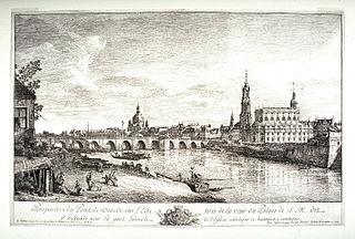 Perspective du pont de Dresde sur l'Elbe