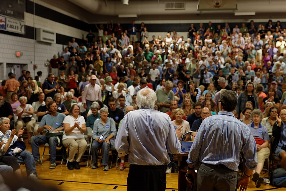 Bernie Sanders before a crowd in Conway, NH, on August 24, 2015 (20876809366)