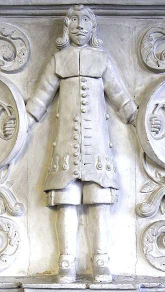 Bevil Grenville - Detail from plaster relief sculpture c. 1643 (see below) from overmantel, no. 8A The Quay, Bideford, Devon. Popularly supposed to depict Sir Bevil Grenville (1596–1643)