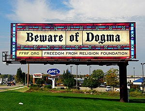 "English: ""Beware of Dogma"" billboard..."