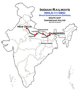 Bihar Samparkkranti Express (NDLS - DBG) Route map.jpg