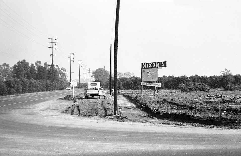 Billboard for Nixon%27s restaurant, Orange County, circa 1955