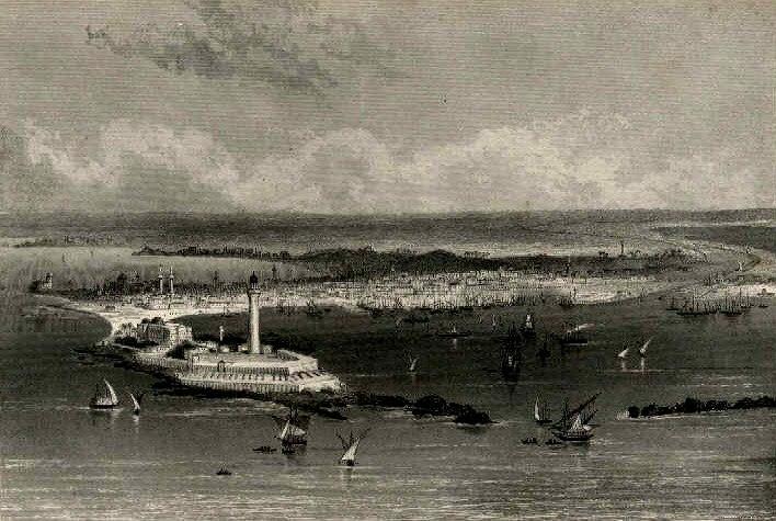 Bird's eye view over Alexandria in around 1870
