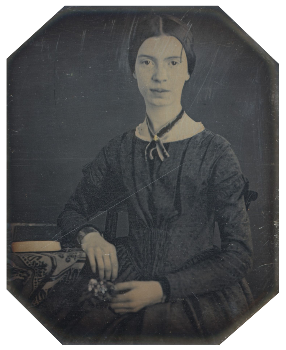 Daguerreotype taken at Mount Holyoke, December 1846 or early 1847; the only authenticated portrait of Emily Dickinson after childhood[1]