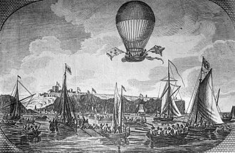 Airship - Crossing of the English Channel by Blanchard in 1785.