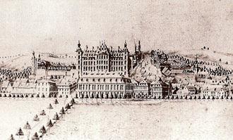 Blieskastel - View Blieskastel, drawing by J.P. Bayer, 1779