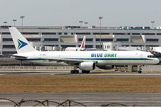 Blue Dart Aviation - A Boeing 757-200SF of Blue Dart aviation taxiing at Mumbai Airport.