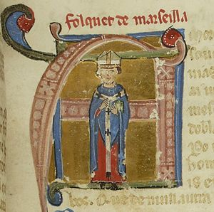 Folquet de Marselha - Folquet depicted holding a bible in BnF ms. 854 fol. 61.