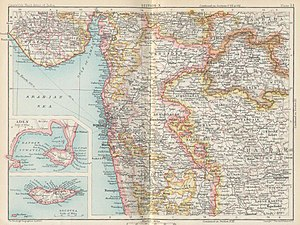 Bombay Presidency - 1893 map of the Bombay Presidency including Aden Province and Socotra.